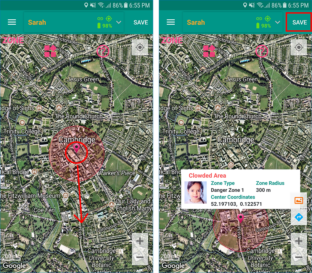 GeoFamily Controller App User Saves Moved Zone - Screen | GPS Tracking App