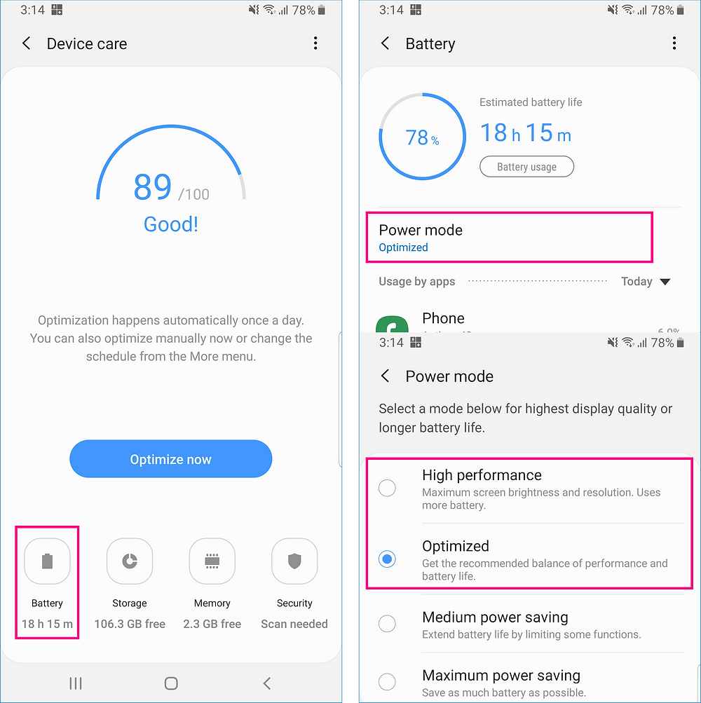 Battery power mode settings | GeoFamily