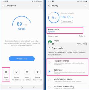 Battery power mode settings | GeoFamily