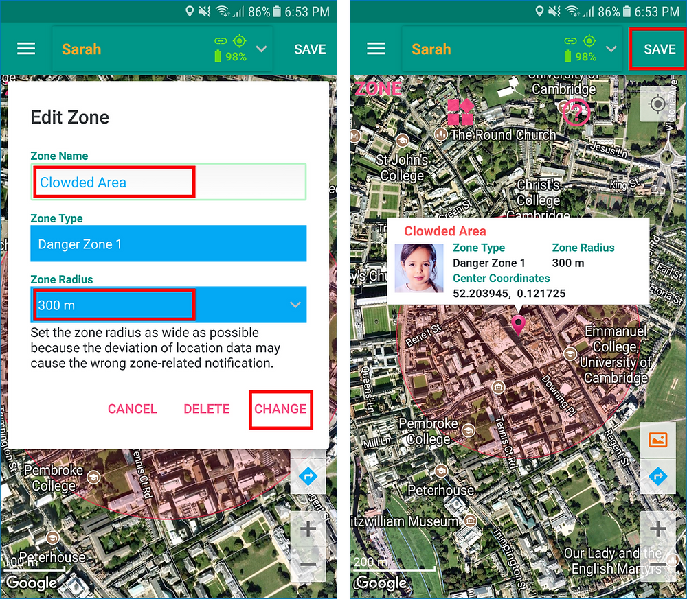 GeoFamily Controller App User Saves Edited Zone - Screen | GPS Tracking App