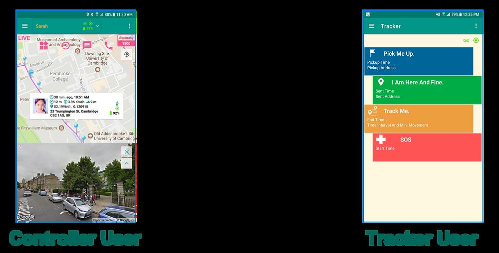 Controller User Main Screen & Tracker User Main Screen | GeoFamily