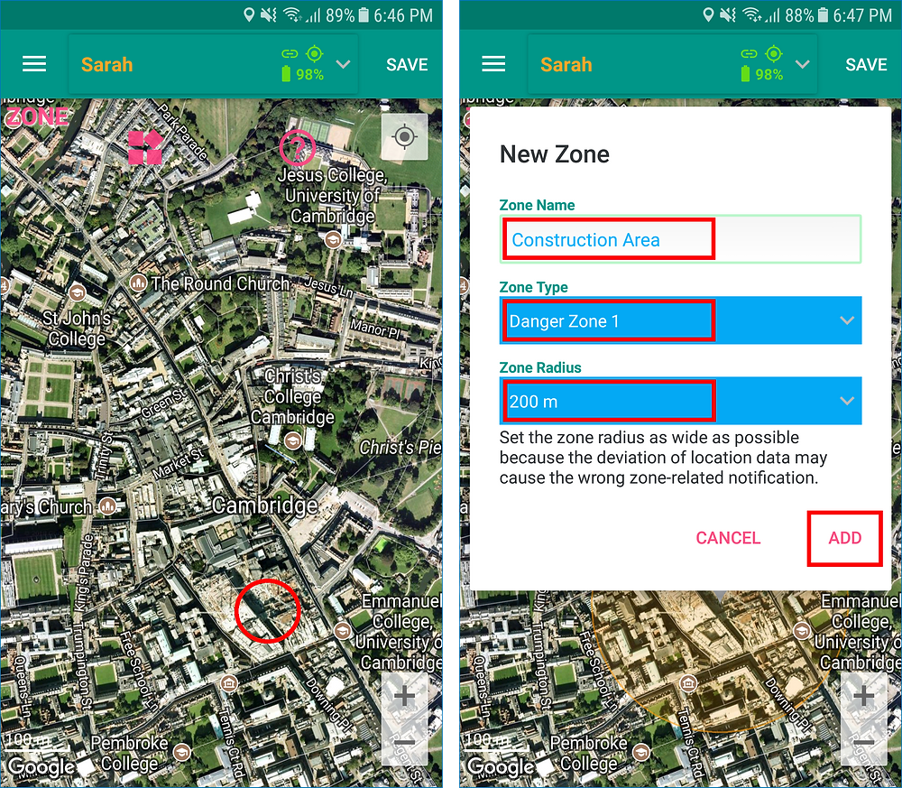 GeoFamily Controller App User Touches A Map Location To Add - Screen | GPS Tracking App