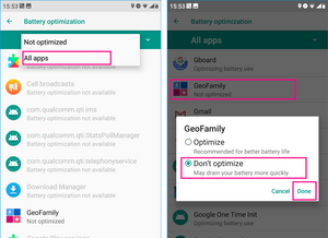 GeoFamily | Battery Optimization Exception Setting 2