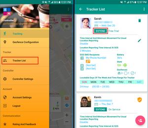 Service Period Extending Screen | GeoFamily | Controller User App