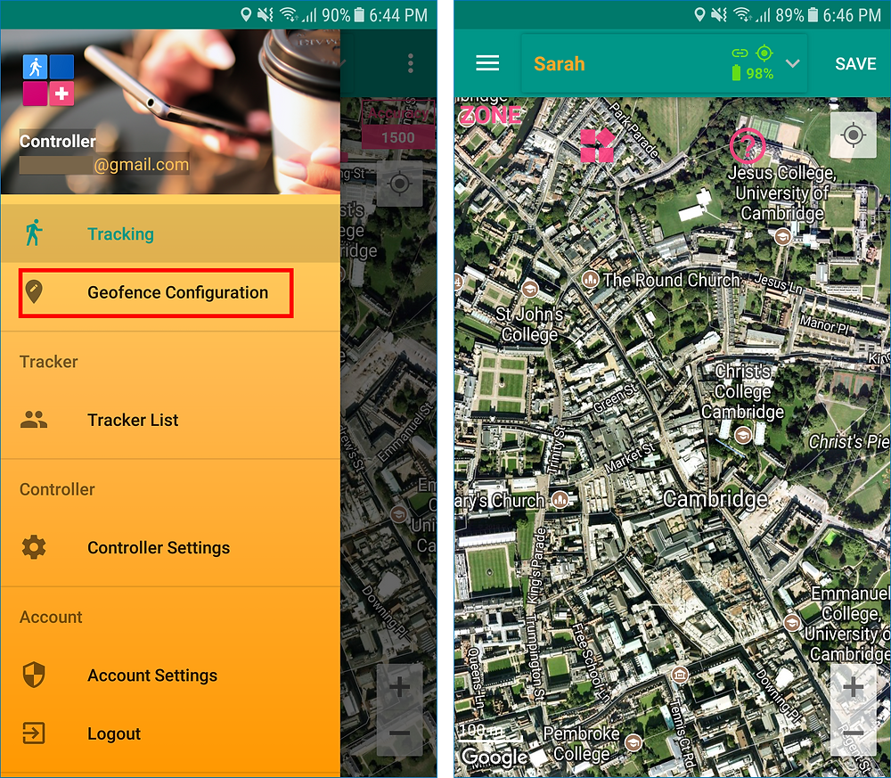 GeoFamily Controller App User Selects Geofence Menu - Screen | GPS Tracking App