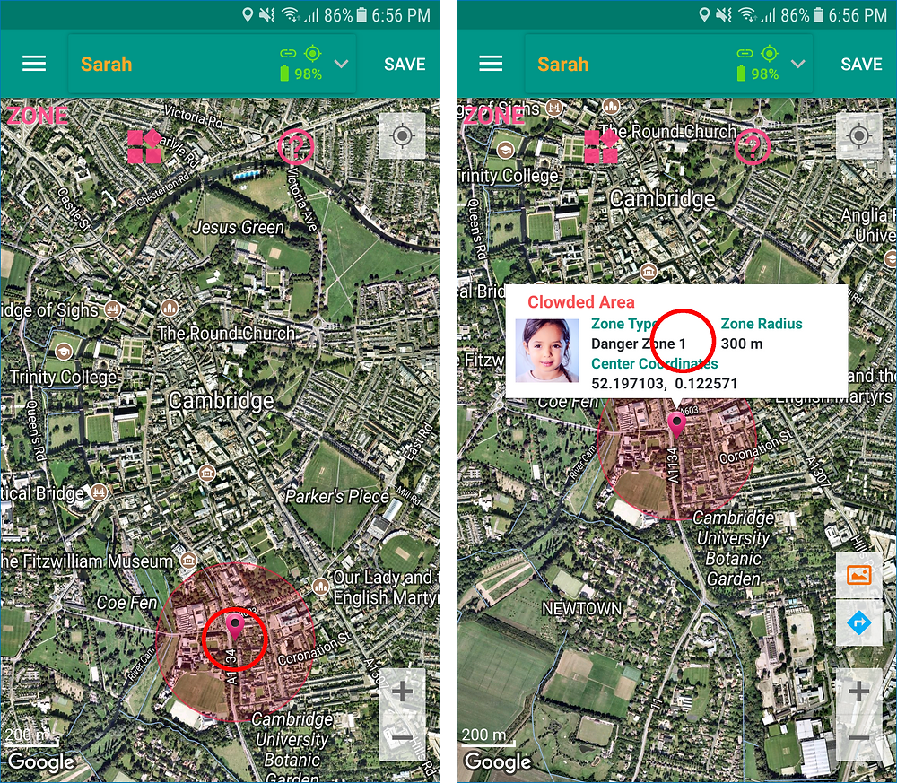 GeoFamily Controller App User Touched A Zone To Delete - Screen | GPS Tracking App