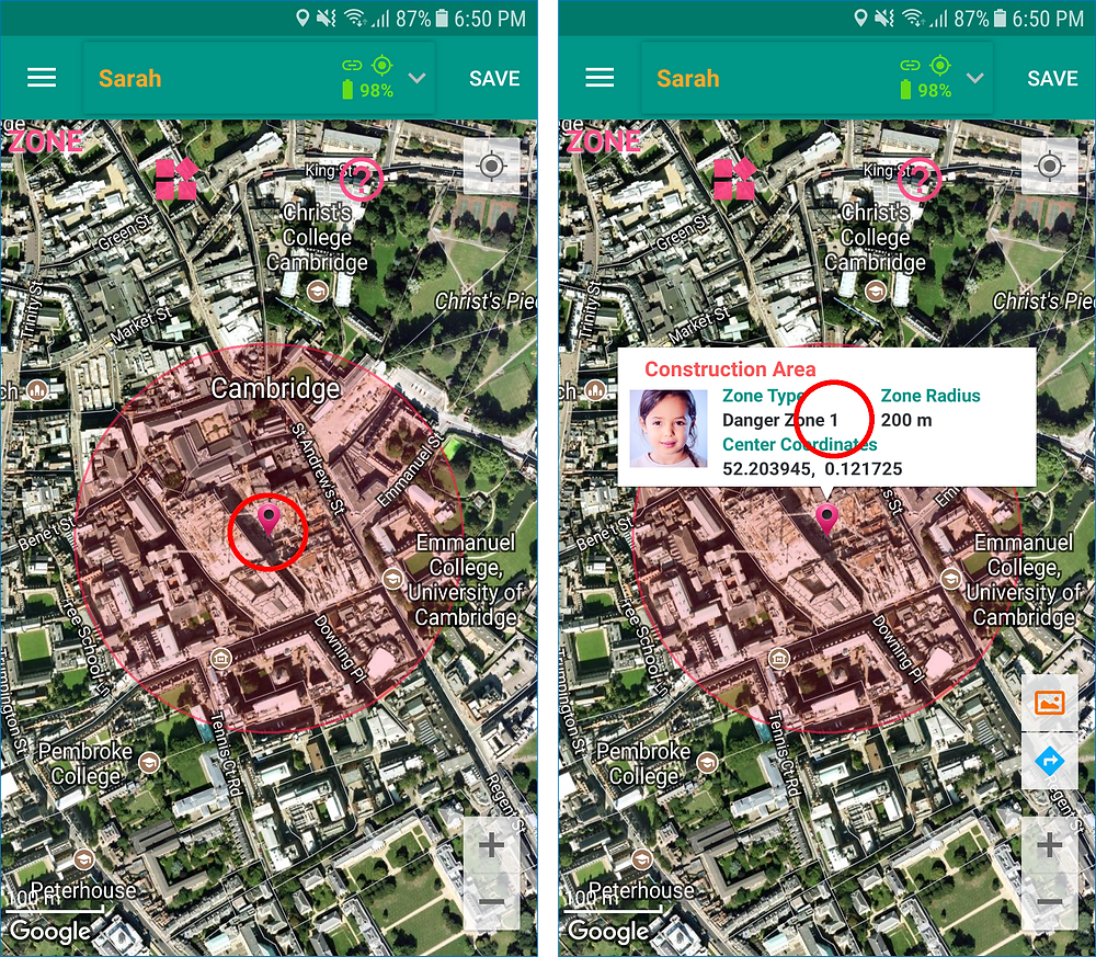 GeoFamily Controller App User Touches A Zone To Change - Screen | GPS Tracking App