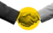 A handshake, yellow circle