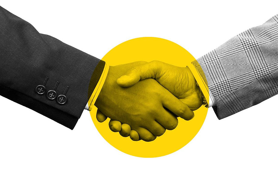 A handshake, yellow circle