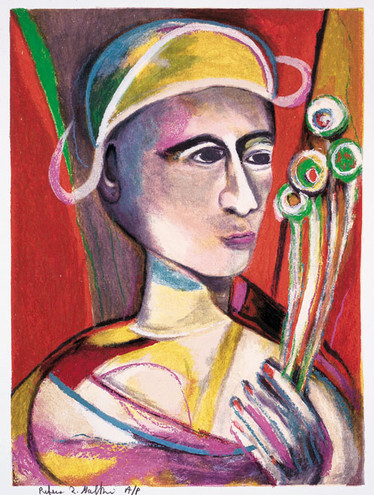 """HARLEQUIN WITH FOUR FLOWERS L.E. SERIGRAPH 18""""x14"""" $2700"""