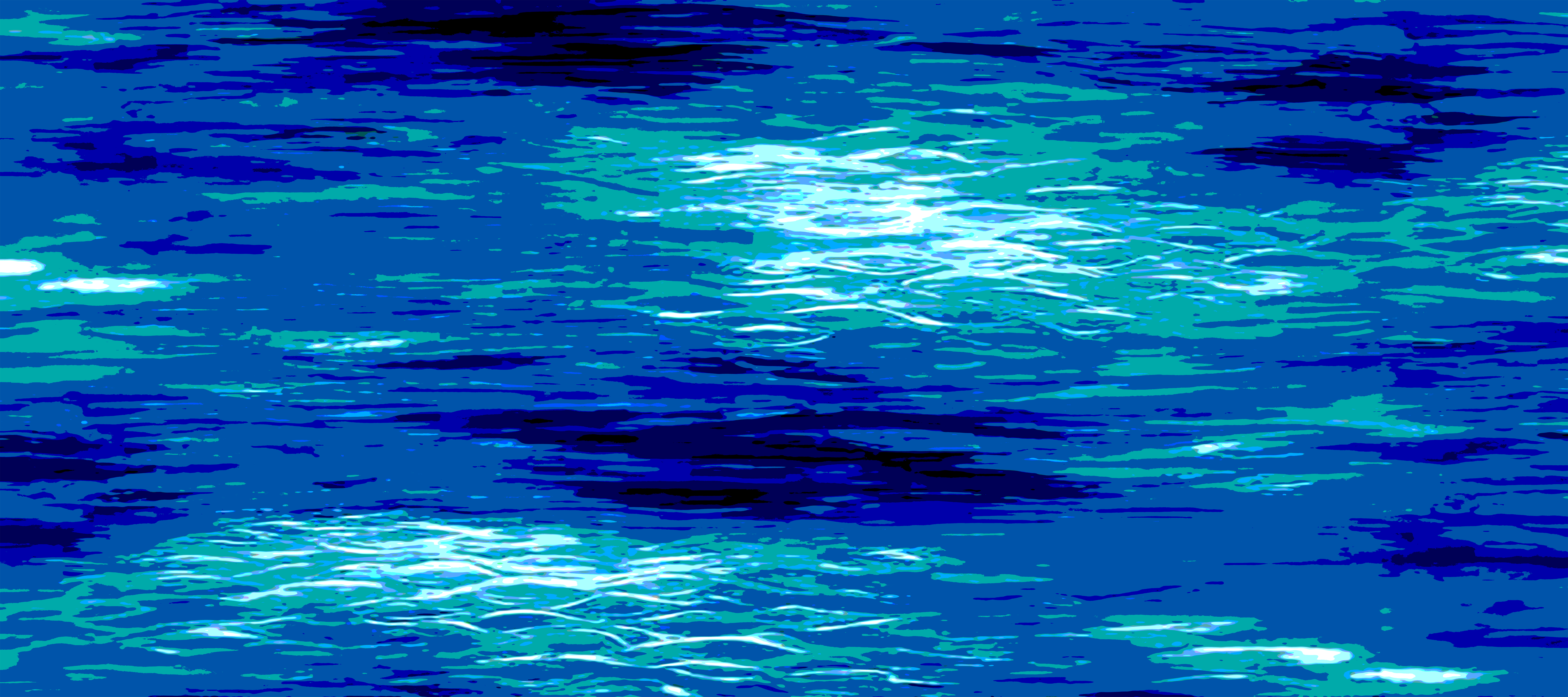 """ABSTRACT OCEAN IN BLUES 90""""x40"""""""