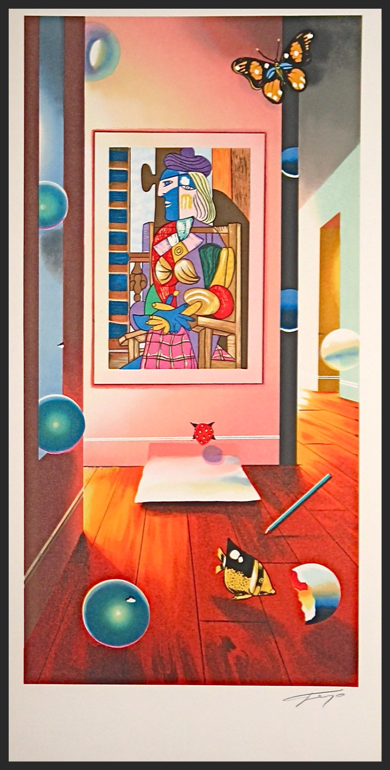 """CUBIST ROOM LITHOGRAPH  22""""x 11"""""""