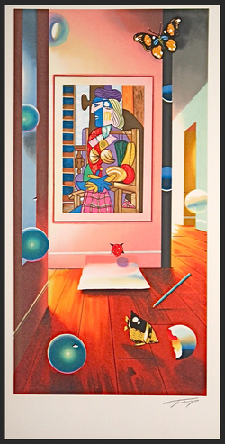 CUBIST ROOM LITHOGRAPH  22_x 11_