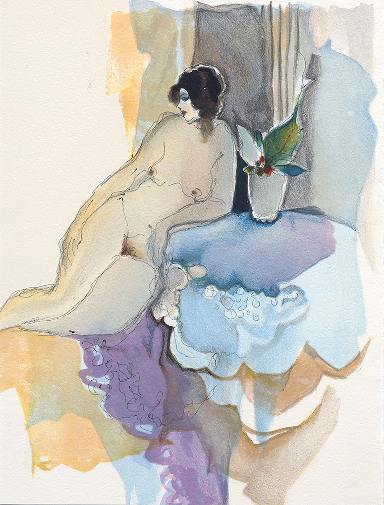 41 TARKAY LITHOGRAPH BOOK INSIDE  NUDE WITH FLOWERS 9 x 7