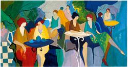 85 TARKAY PARIS CAFE image 53x27.5 border 32.25x57 1992
