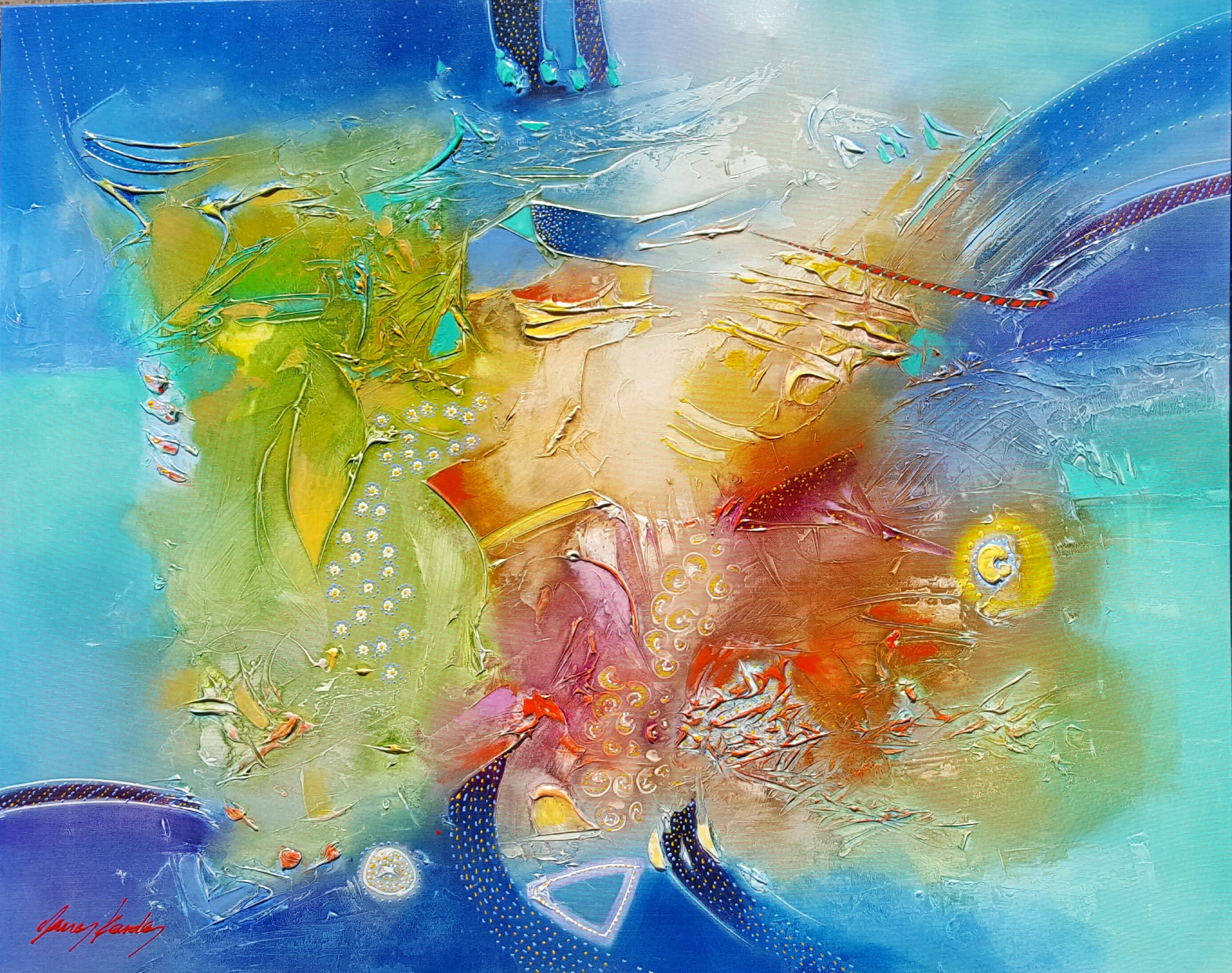 KARDOS ABSTRACT SUMMER MYKONOS 50 x 40 in