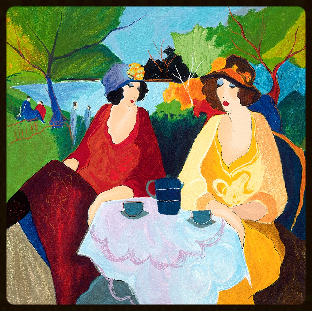 2 TARKAY SERIGRAPH  SUMMER TIME - LAKESIDE CAFE 1995  20x20 in
