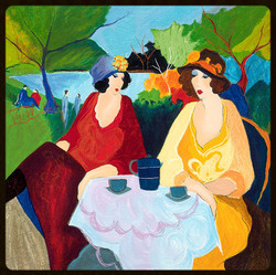 2 TARKAY SERIGRAPH  SUMMER TIME - LAKESIDE CAFE 1995  20x20 in_edited