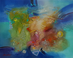 "JANOS KARDOS  022  ABSTRACT 50""x40"" $9000 SUMMER MYKONOS"