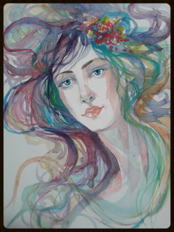 EDITBAKK ORIGINAL WATERCOLOR LILI 15_ x 11_   $1800