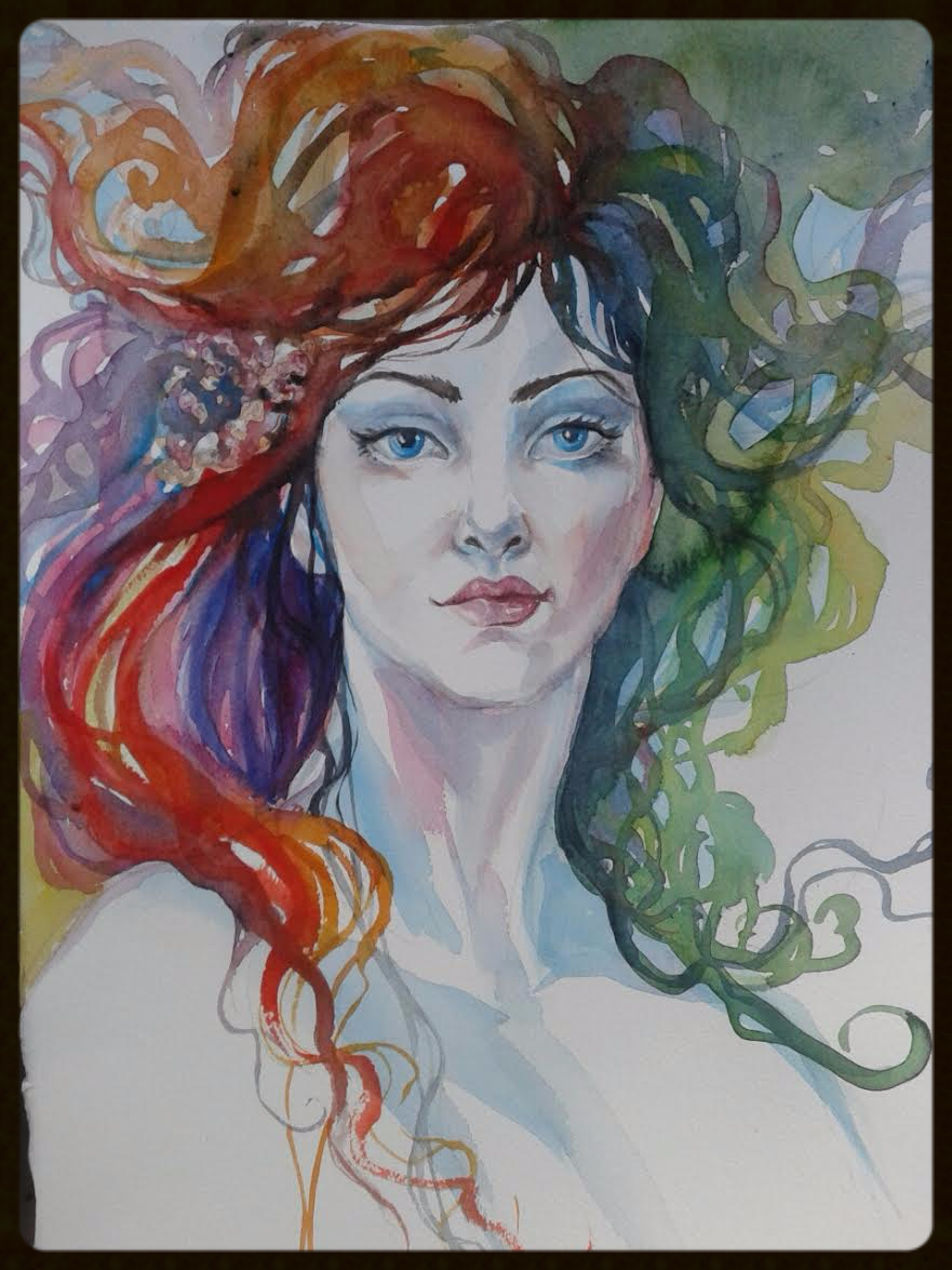 EDITBAKK ORIGINAL WATERCOLOR KAREN 15_ x 11_    $1800