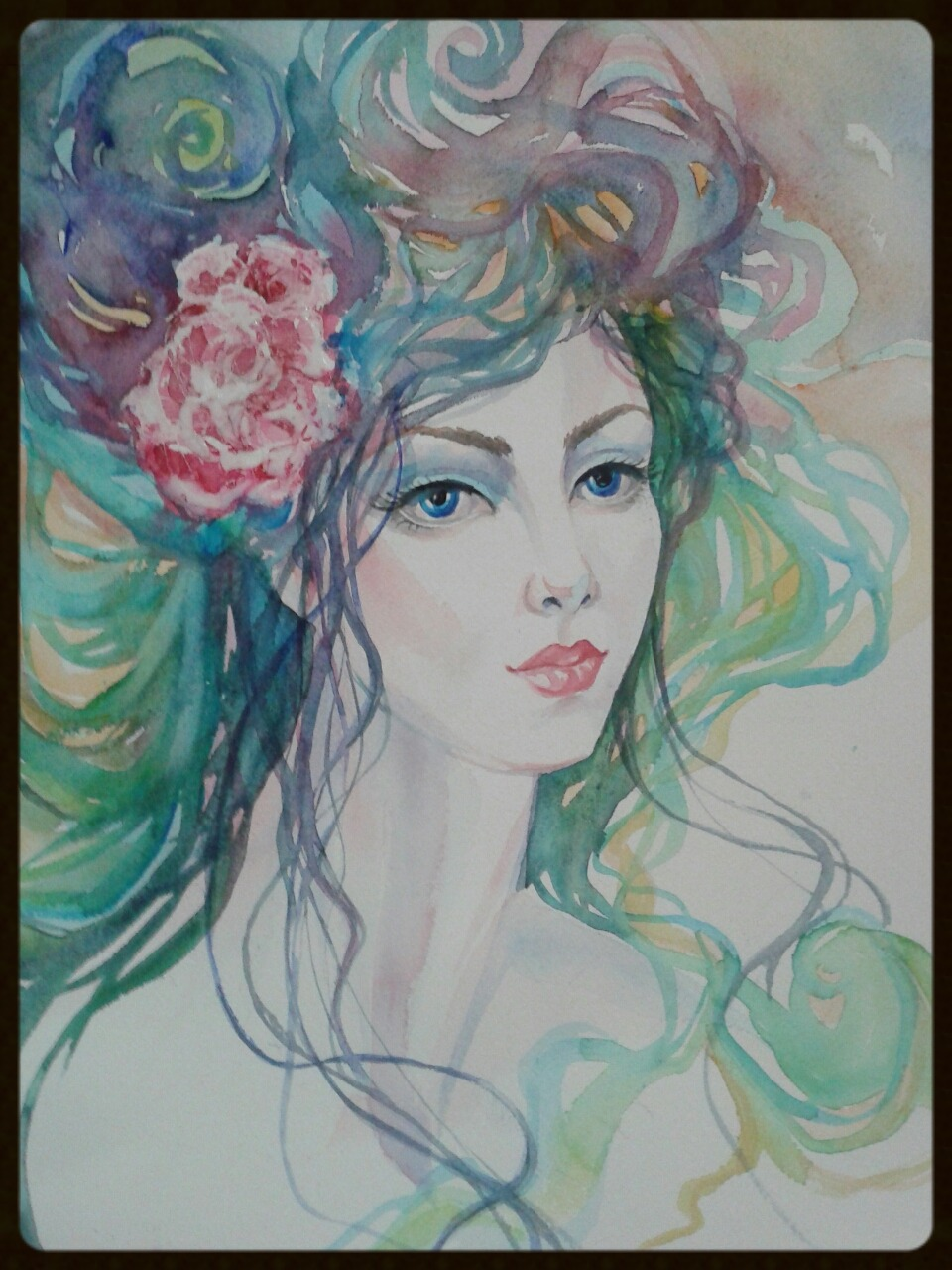 EDITBAKK ORIGINAL WATERCOLOR PEACEFUL MOMENT 22 x 15   $2800