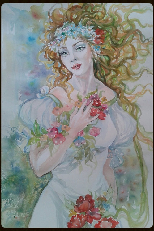 "EDITBAKK ORIGINAL WATERCOLOR  ""SPRING"""