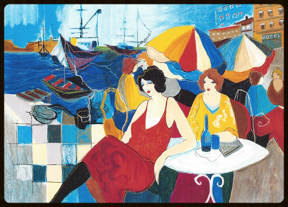 16 TARKAY SERIGRAPH HARBOR CAFE - THE ARISTO  20.5 x 18 in