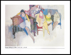 WOMAN SITTING ON A SOFA    WATERCOLOR       40x28 in