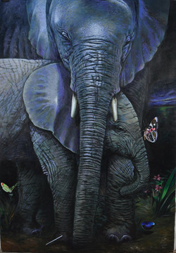 ELEPHANT MOTHER AND CHILD 70_ x 50_