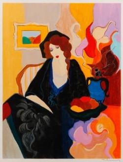 64 TARKAY _Seated Woman in Interior_ 27.5_ x 21.5_.