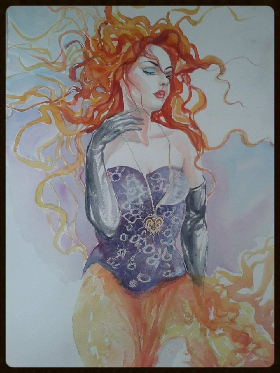 EDITBAKK WATERCOLOR  LADY RED 22 x 15 $2800