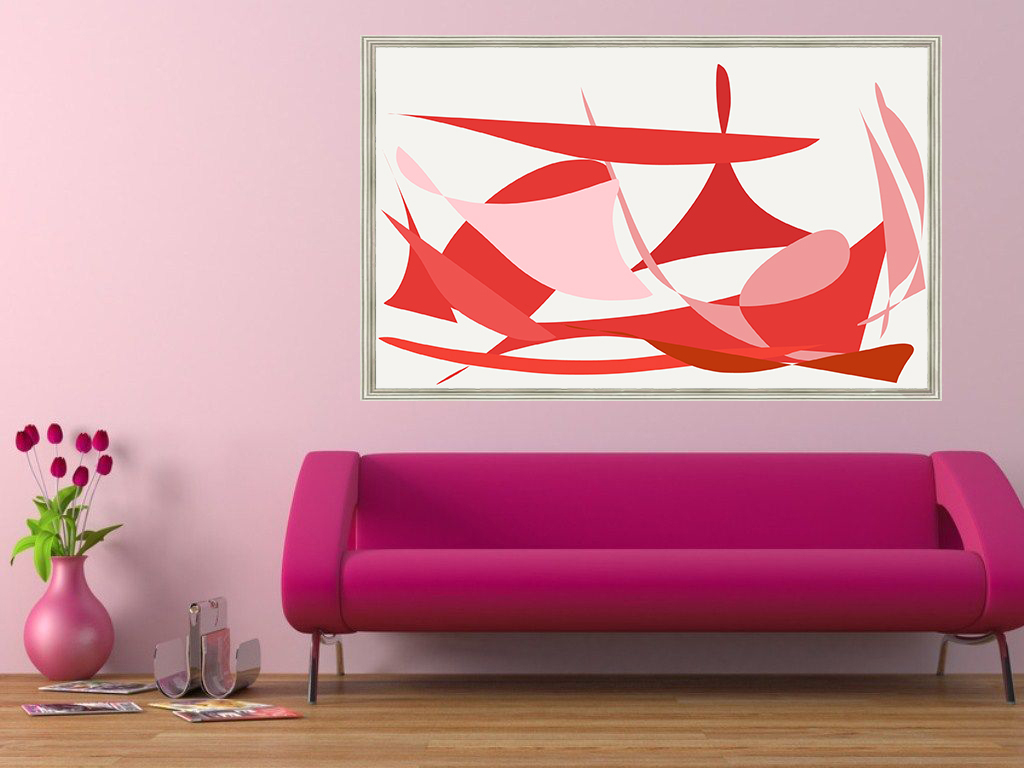KAP67 DIGITAL ART 302017 FRAMED PINK SOFA