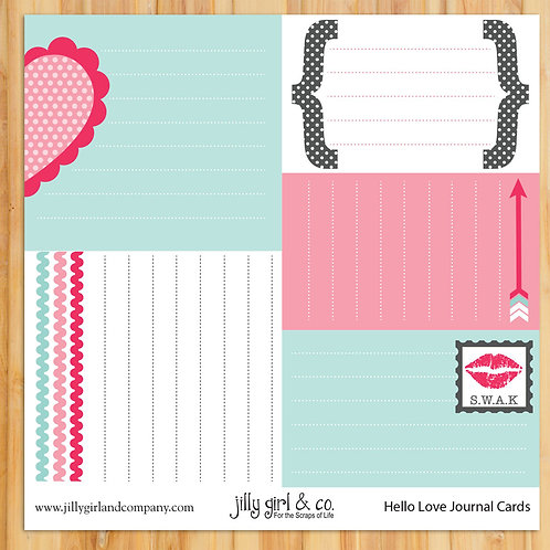 Hello Love Journal Cards
