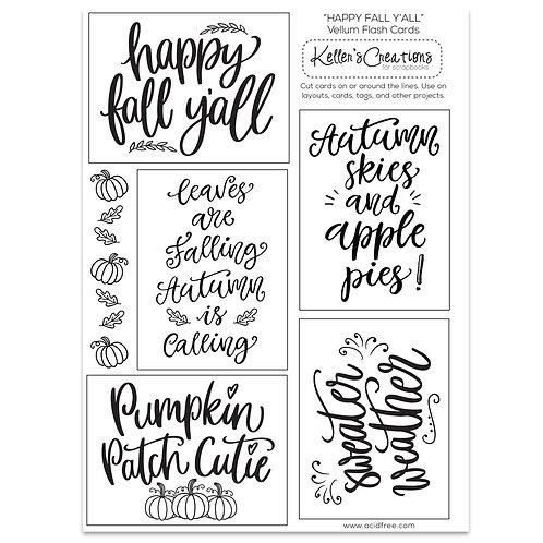 Happy Fall Y'all Vellum Flash Cards