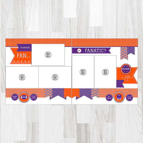 Football Fan-Orange & Purple & White Perfect Pages