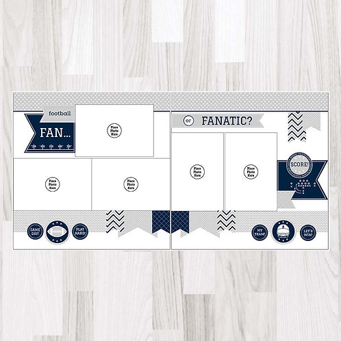 Football Fan-Navy & White & Gray Perfect Pages
