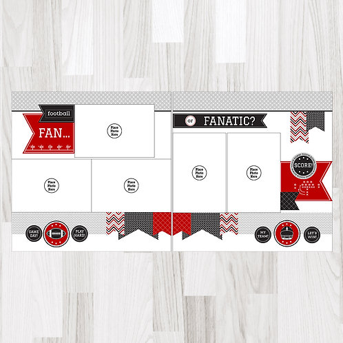 Football Fan-Red & Black & Gray Perfect Pages