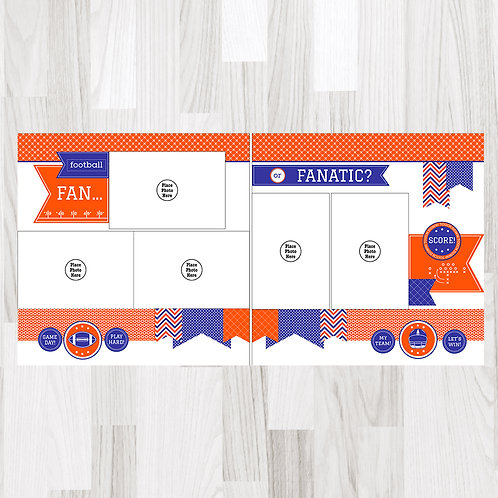Football Fan-Royal Blue & Orange & White Perfect Pages