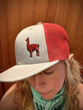 Heather Grey/Red Mesh Llama Hat