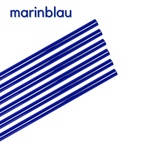 Glas Strohhalm blau