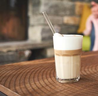 Glas Strohhalm Latte Macchiato