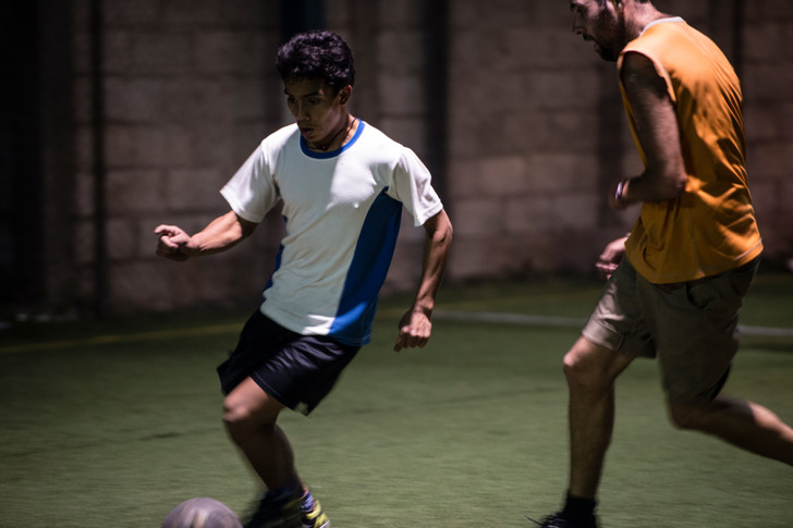The Hogar children play soccer with the Quetzaltrekkers guides every Wednesday night.