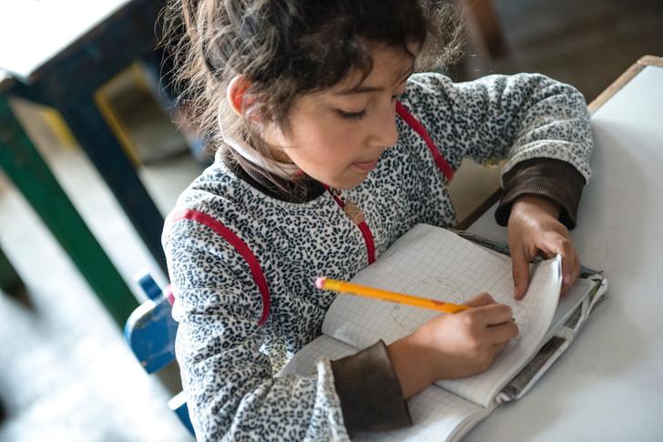 Girl during class