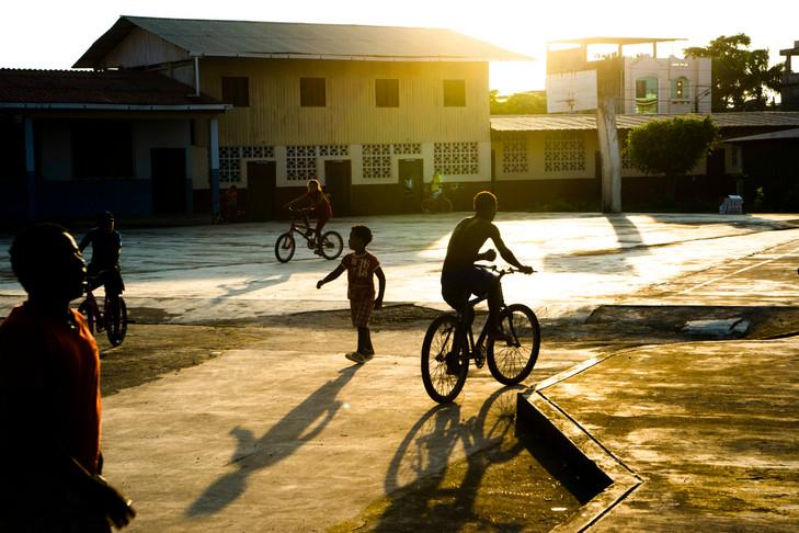 Children playing at the church yard in San Lorenzo.