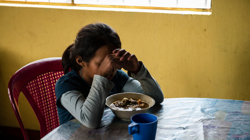 M,The youngest resident at the Hogar is an orphan and has been living there with her sister since she was very young.