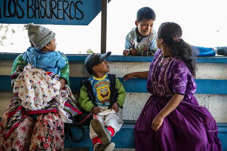 Patients waiting to see a doctor at the Primeros Pasos clinic.