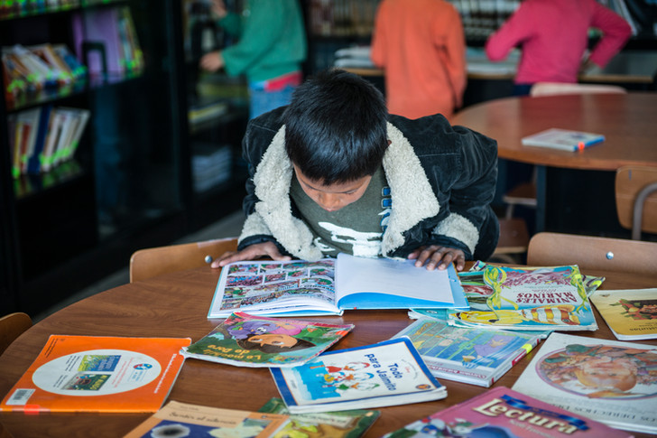 Child at the school library.