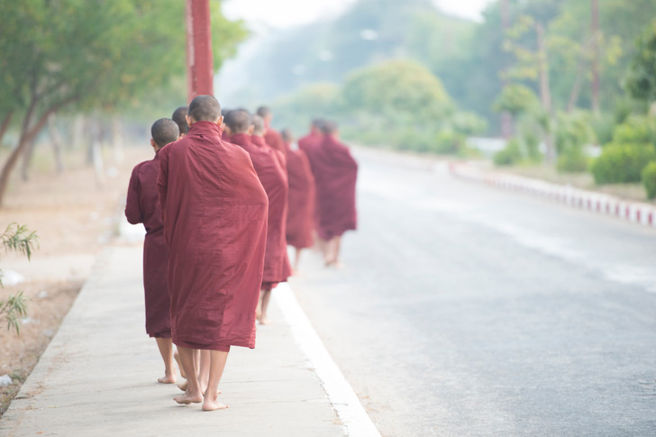 The monks are always barefoot