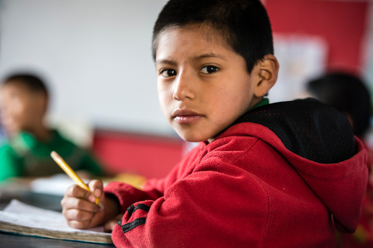 """First grader at the """"Escuela de la calle"""" school (Edelac)"""